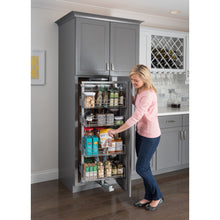 "Load image into Gallery viewer, 12"" Wide x 86"" High Chrome Wire Pantry Pullout with Swingout Feature - Kitchen Island Company"
