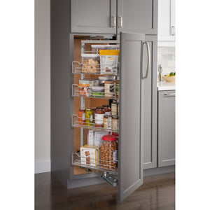 "15"" Wide x 86"" High Chrome Wire Pantry Pullout with Swingout Feature CPSO1586SC - Kitchen Island Company"