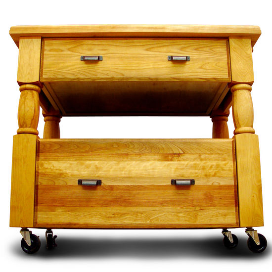 Butcher Block Top Rugged Construction Natural Kitchen Cart With Storage 1429 - Kitchen Furniture Company
