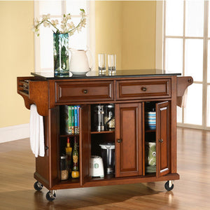 Crosley Furniture Rolling Kitchen Island with Solid Black Granite Top KF30004 - Kitchen Furniture Company