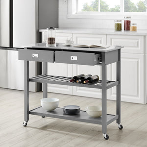 "Gray Chloe Stainless Steel Top Kitchen Island/Cart - 37""H x 42""W x 20""D - Kitchen Furniture Company"