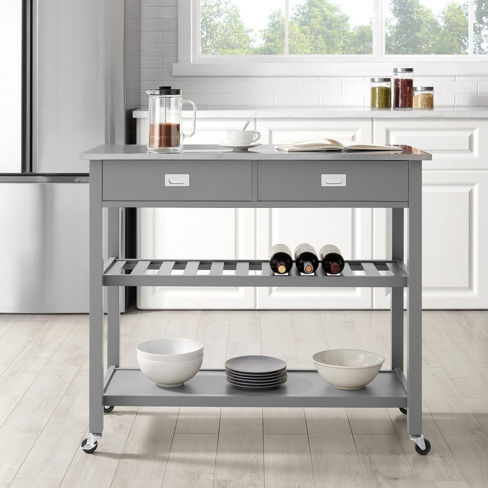 Gray Chloe Stainless Steel Top Kitchen Island/Cart - 37