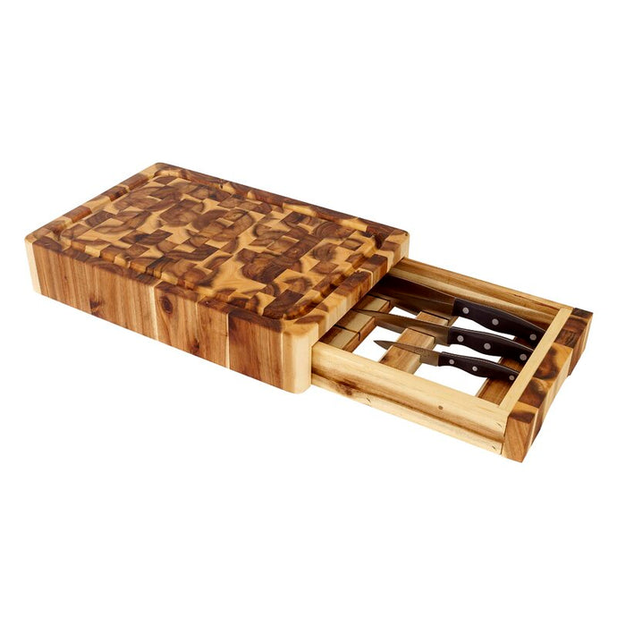 Cutting Board End Grain Acacia Wood w/ Knife Drawer and Chef Pan 7990 - Kitchen Furniture Company