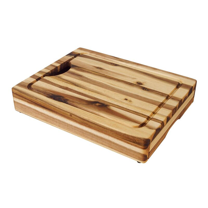 Solid Acacia Hardwood Wood Cutting Board w/ Knife Drawer and Chef Pan 7989 - Kitchen Furniture Company