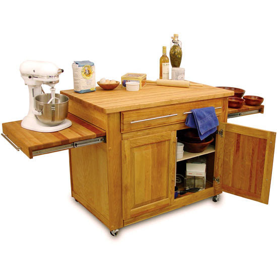 Work Center Kitchen Island w/ Pull-Out Leaves Extended Work Space 1480 - Kitchen Furniture Company