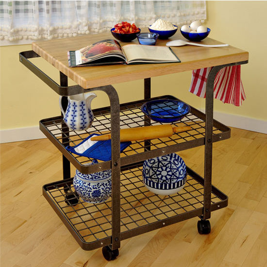 Handcrafted Rectangle Butcher Block Baker's Cart Hammered Steel - Kitchen Furniture Company