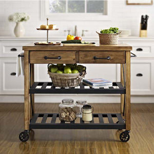 French Style Industrial Rolling Kitchen Cart Open Shelves Wine Storage 3008 - Kitchen Furniture Company