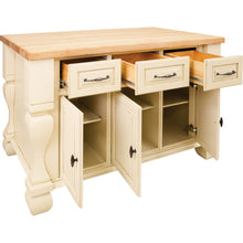 "Load image into Gallery viewer, Antique White Jeffrey Alexander 54"" Kitchen Island with Hard Maple Edge Grain Butcher Block Top - Kitchen Island Company"