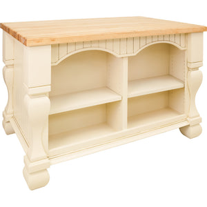 "Antique White Jeffrey Alexander 54"" Kitchen Island with Hard Maple Edge Grain Butcher Block Top - Kitchen Island Company"