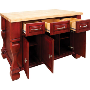 "Jeffrey Alexander 54"" Kitchen Island with Hard Maple Edge Grain Butcher Block Top - Kitchen Island Company"