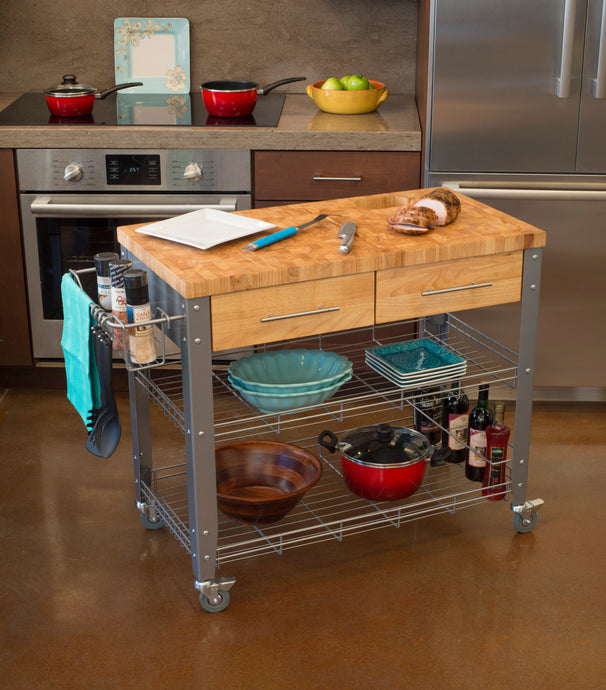 Professional Chef's Kitchen Work Station with Wire Shelves - Kitchen Furniture Company