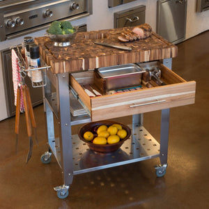 Stainless Steel and Wood Outdoor Indoor Kitchen Cart Thick Butcher Block 3191 - Kitchen Furniture Company