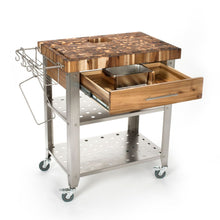 Load image into Gallery viewer, Stainless Steel and Wood Outdoor Indoor Kitchen Cart Thick Butcher Block 3191 - Kitchen Furniture Company