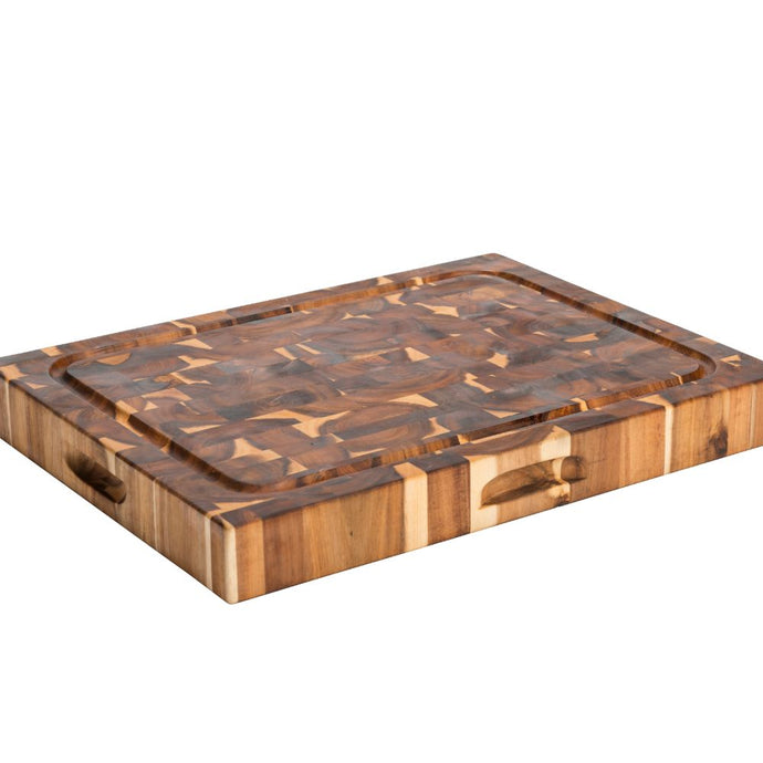 Reversible Cutting Board Solid Endgrain Acacia Hardwood w Juice Groove 7996 - Kitchen Furniture Company
