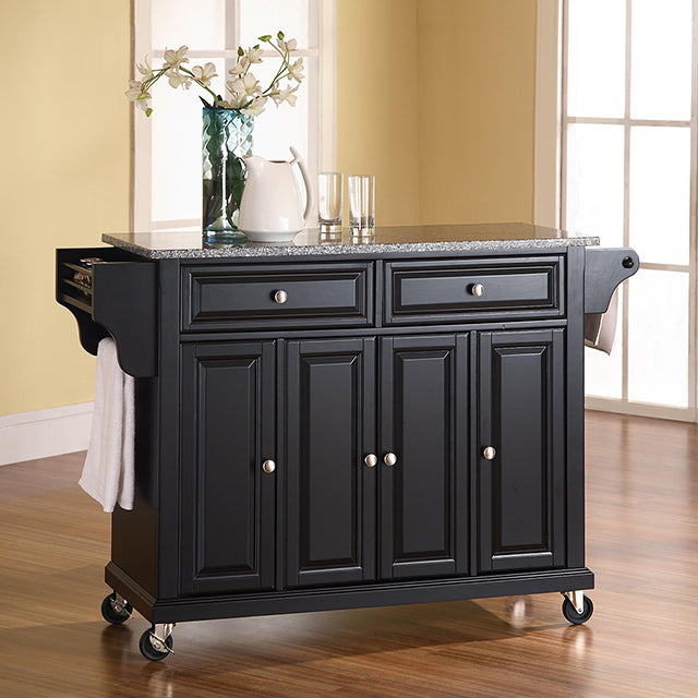 Crosley Furniture Rolling Kitchen Island with Grey Granite Top KF30003 - Kitchen Furniture Company