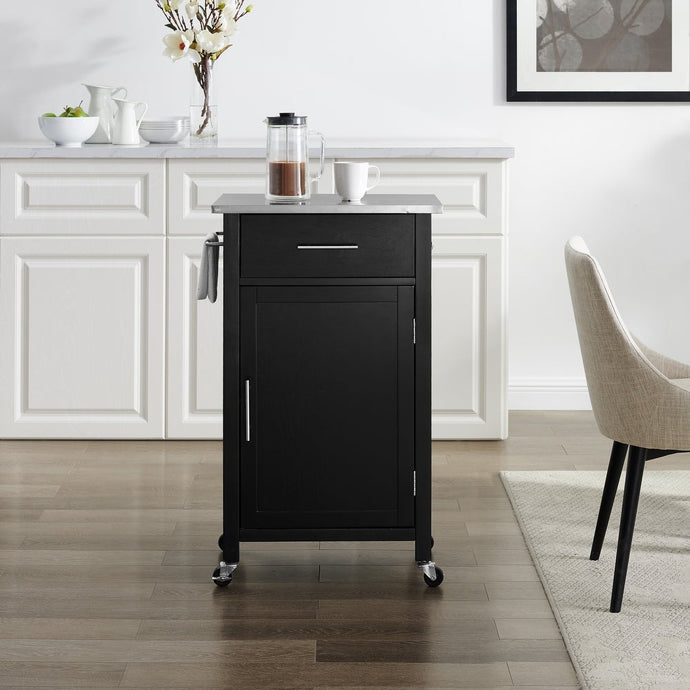 Black Savannah Stainless Steel Top Compact Kitchen Island/Cart - Kitchen Furniture Company
