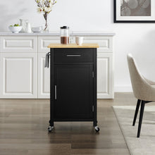 Load image into Gallery viewer, Black Savannah Natural Wood Top Compact Kitchen Island/Cart - Kitchen Furniture Company