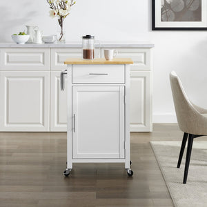 White Savannah Natural Wood Top Compact Kitchen Island/Cart - Kitchen Furniture Company