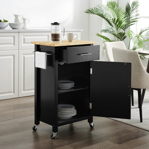 Black Savannah Natural Wood Top Compact Kitchen Island/Cart - Kitchen Furniture Company