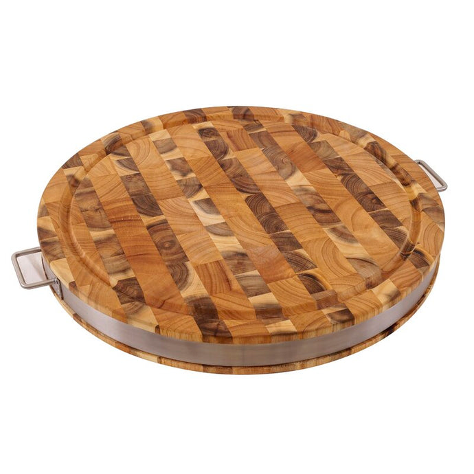 Silver Round Commercial Cutting Board Solid End Grain Acacia Wood 7988 - Kitchen Furniture Company