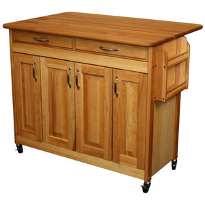 Butcher Block Kitchen Island with Drop Leaf Spice Rack 54228 - Kitchen Furniture Company