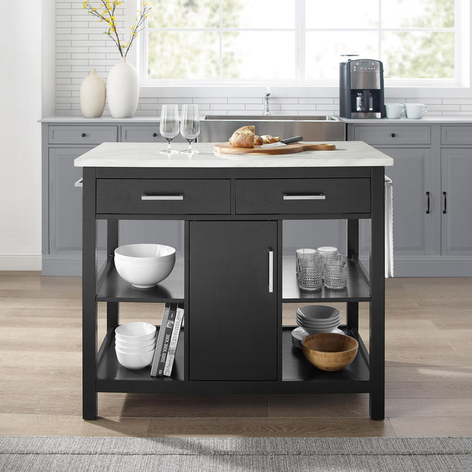 Modern Black Kitchen Island with Faux Marble Top and Open Shelves 3026WM - Kitchen Furniture Company