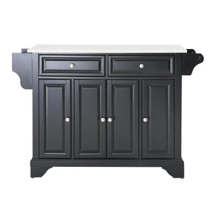 Lafayette Black Full Size Kitchen Island/Cart with Granite Top - Kitchen Furniture Company