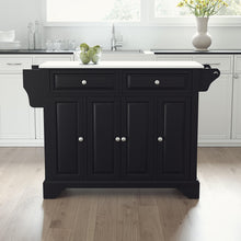 Load image into Gallery viewer, Lafayette Black Full Size Kitchen Island/Cart with Granite Top - Kitchen Furniture Company