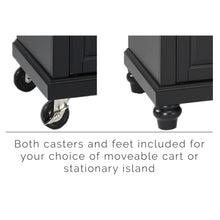 Load image into Gallery viewer, Cambridge Black Portable Kitchen Cart/Island with Granite Top - Kitchen Furniture Company