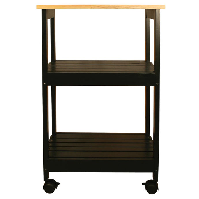 Black Kitchen Cart with Natural Wood Top 81516 - Kitchen Furniture Company