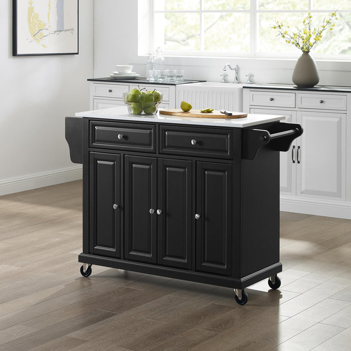 Full Size Black Kitchen Cart with White Granite Top Sturdy Casters - Kitchen Furniture Company