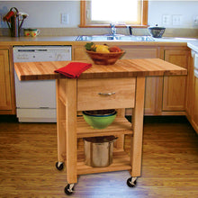 Load image into Gallery viewer, Natural Wood Kitchen Cart with Drop Leaf Thick Butcher Block Top 1468 - Kitchen Furniture Company