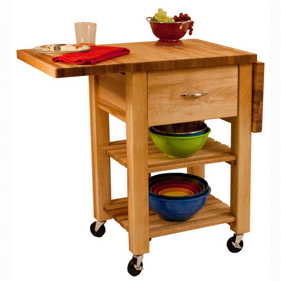 Natural Wood Kitchen Cart with Drop Leaf Thick Butcher Block Top 1468 - Kitchen Furniture Company