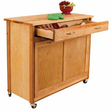 Load image into Gallery viewer, Rolling Natural Kitchen Island w/ Pull Out Recycling Trash Drawer 15213 - Kitchen Furniture Company