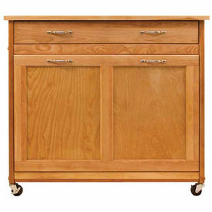 Rolling Natural Kitchen Island w/ Pull Out Recycling Trash Drawer 15213 - Kitchen Furniture Company