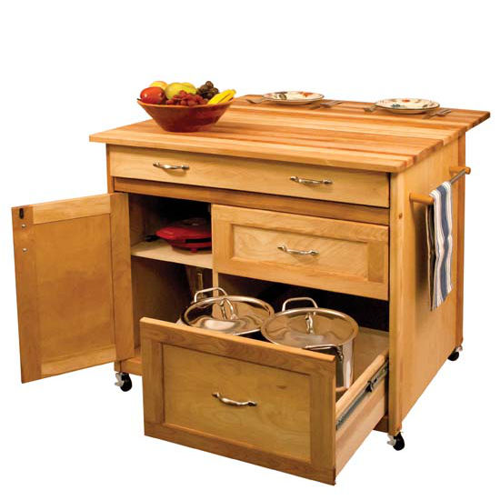 Butcher Block Kitchen Island with Deep Drawers Locking Casters 1521 15218 - Kitchen Furniture Company