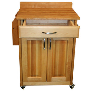Kitchen Butcher Block Cart with Backsplash w/ Raised Panels 61532 - Kitchen Furniture Company