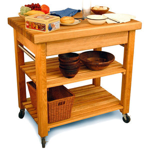 "Kitchen Island Work Center w/ 2 1/2"" Thick Butcher block Top 1476 - Kitchen Furniture Company"