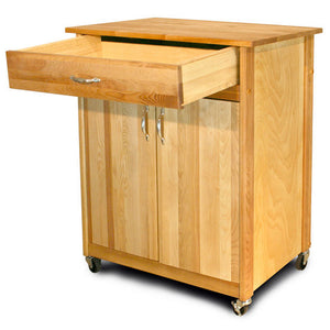 Mid-Size Two Door Kitchen Cart with Drop Leaf On Caster's 51533-51536 - Kitchen Furniture Company