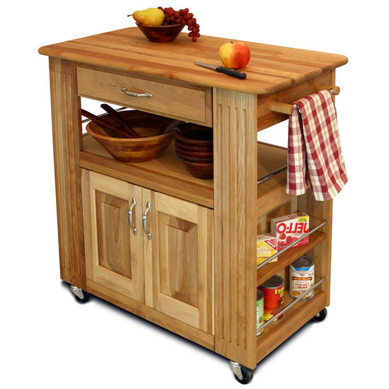 Heart-Of-The-Kitchen Natural Wood Kitchen Cart with Storage 1544-15445 - Kitchen Furniture Company