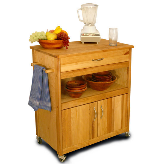 Natural Kitchen Cart With Durable Butcher Block Top Rolling Casters 51575 - Kitchen Furniture Company