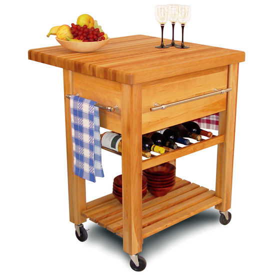 Portable Rolling Kitchen Work Center with Drop Leaf and Wine Rack 2008 - Kitchen Furniture Company