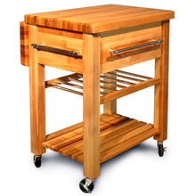 Load image into Gallery viewer, Portable Rolling Kitchen Work Center with Drop Leaf and Wine Rack 2008 - Kitchen Furniture Company