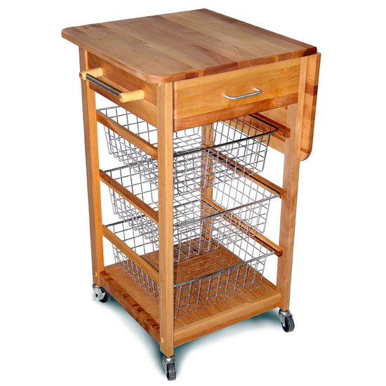 Natural Wood Kitchen Cart with Drop Leaf Butcher Block Top 7225 - Kitchen Furniture Company