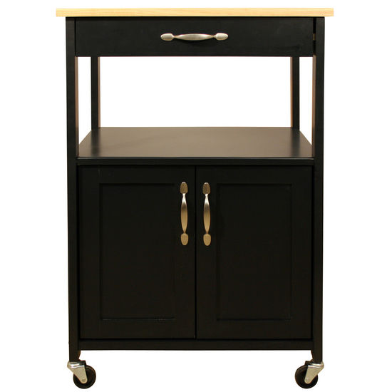 Black Rolling Kitchen Cart with Natural Wood Top Storage by Catskill - Kitchen Furniture Company