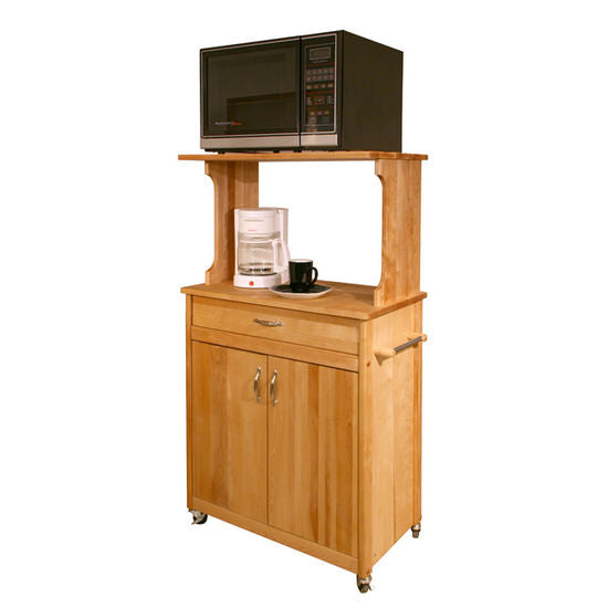Natural Wood Kitchen Microwave Coffee Cart with Hutch Top 51537 - Kitchen Furniture Company