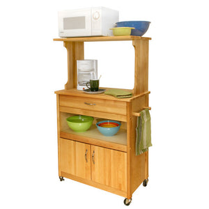 Rolling Natural Wood Kitchen Microwave/Coffee Cart with Hutch Top 51576 - Kitchen Furniture Company