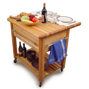 "2'' Thick Butcher Block Food Prep Table Station w/ 8"" Drop Leaf 2005 - Kitchen Furniture Company"