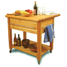 "Load image into Gallery viewer, 2'' Thick Butcher Block Food Prep Table Station w/ 8"" Drop Leaf 2005 - Kitchen Furniture Company"