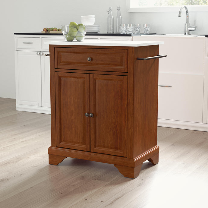 Cherry Portable Kitchen Island/Cart with Lafayette Legs and White Granite Top - Kitchen Furniture Company